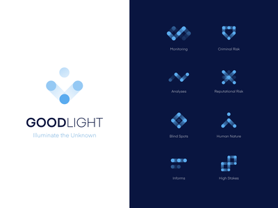 GoodLight Branding minimal clean iconography symbols risk people logo design blue icons light logotype