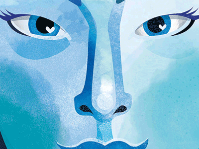 Blue female blue portrait