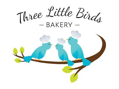 Three Little Birds Bakery birds logo design bakery