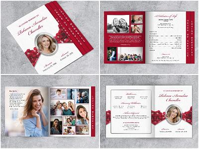 Roses Funeral Program Template - Graduated Fold graduated fold template for funeral program funeral program
