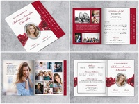 Roses Funeral Program Template - Graduated Fold