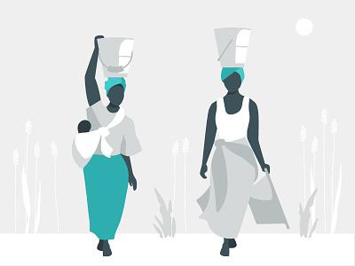 Development Nonprofit Illustration africa walking baby water women neutral blue illustration