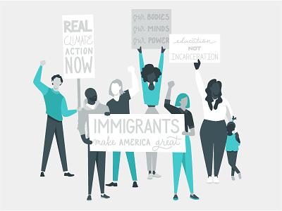 Political Activism Illustration demonstration protest diversity activism politics neutral blue illustration