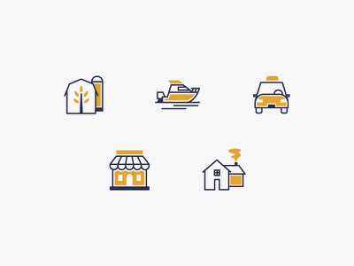 Insurance Icons house business shop car boat barn insurance blue gold icons