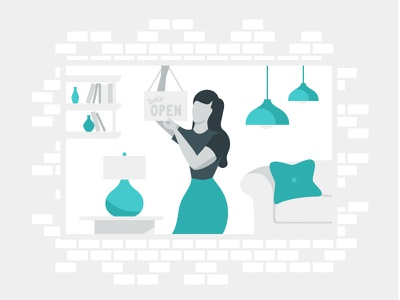 Small Business Illustration grey blue couch bricks sign open woman lamps business small