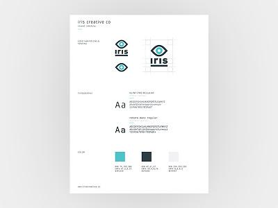 Iris Brand Guide typography rebrand logo eye iris grey blue guide brand