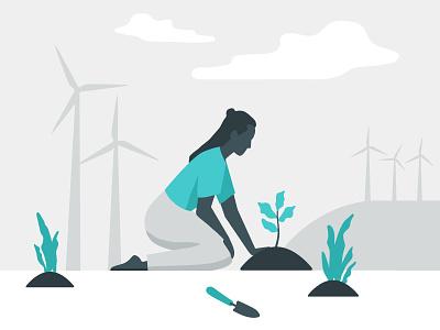 Renewable Energy Illustration garden power alternative wind energy renewable plants windmills woman neutral blue illustration