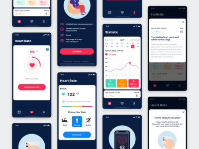 Heart Rate Mobile App vector illustrator mobile design app ux ui rate heart