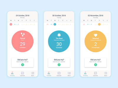 Lady App pastel flat pregnant baby mobile design app ux ui periods