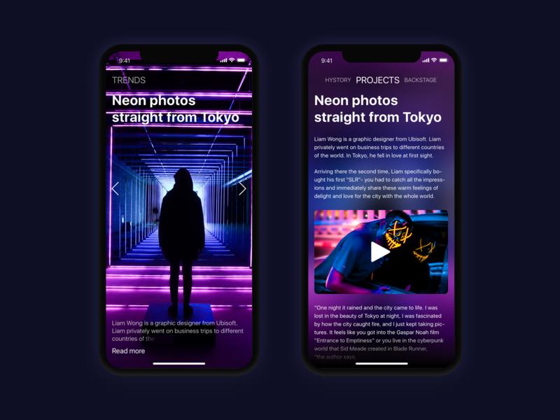 Neon inspiration photo website web iphone ios mobile app mobile app ux ui sketch design