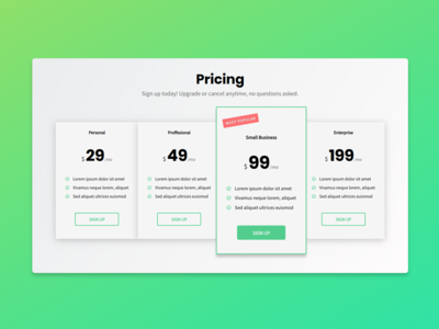 Pricing Plans Concept