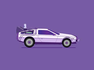 Purple Delorean car vector future the to back delorean purple
