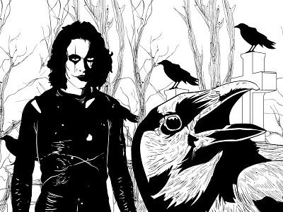 The Crow inks lee brandon white black noir vector the crow
