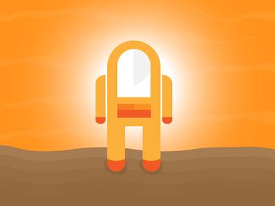 Hal of Mars minimal orange brown vector robot