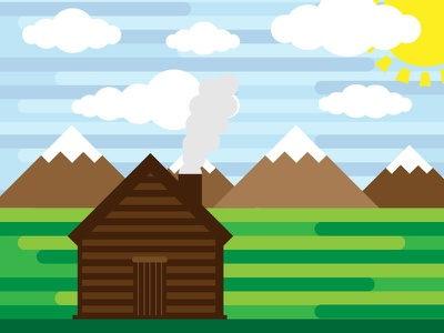 Sunny day real estate minimal abstract rounded vector clouds mountains cabin sun