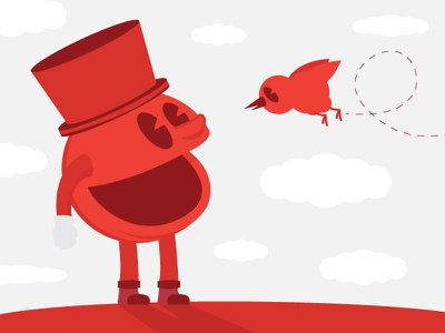Top hat of the morning to you red man pac smile hat top minimal vector bird