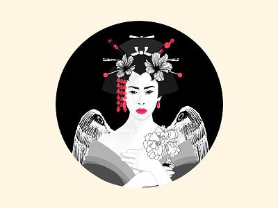 Geisha Illustration memoirs eastern noir illustration japan asian geisha