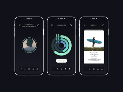 Blossom app. Home screens dark background design app social media transportation food wellness fitness app lifestyle urban eco friendly sustainability ui design ux design mobile app