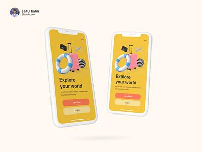 Travels UI Explorations app website branding fun splash design illustrations travel yellow logo ux graphic design ui