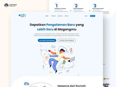 Re-Design Visual UI Website Internship plant internship blue website design typography typo branding app illustrations vector graphic design ui