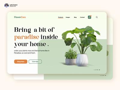 FlowerCare - Visual UI Website for a Store Flowers orange intership visual ux design illustrations branding care vibes paradise leaf grow green brand website ui store plant