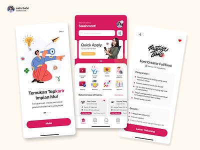 Re-Design Visual UI Website Top Karir - Jobs Career landing page career indoensia graphic design ux job app ui logo photo illustrations branding design maroon red internship