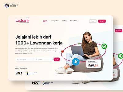 Landing Page - Top Karir Indonesia web design website ux green white red app landing page ui logo illustration goodtype design branding