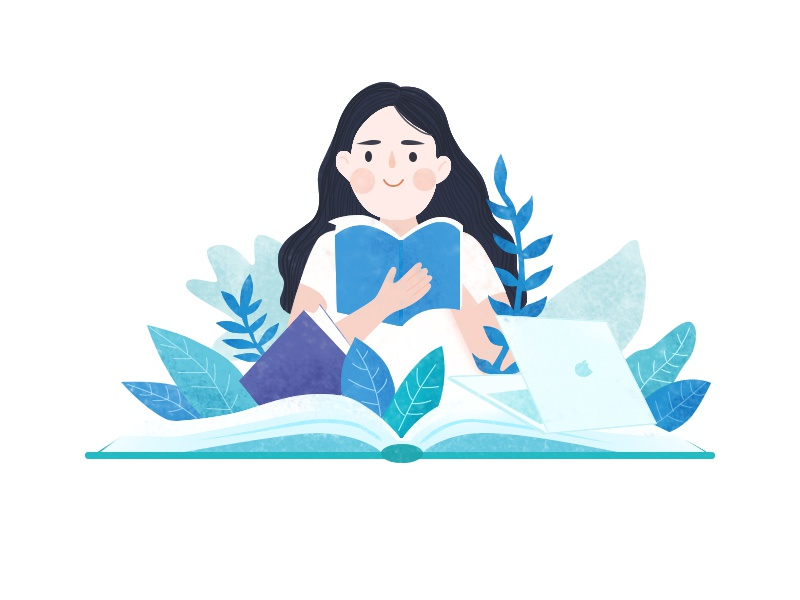 Reading Girl illustration