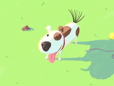 Doggo illustration park happy green digital painting procreate dog doggo