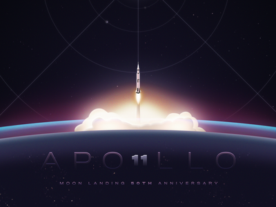 Apollo 11 - 50th Anniversary vector art saturnv rocket earth landing anniversary apollo 11 moon vector 2d illustration design gareso