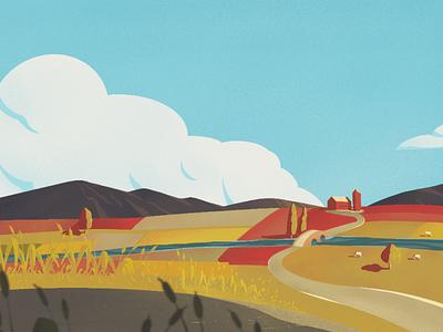 Farm landscape clouds sky landscape farm procreate illustration
