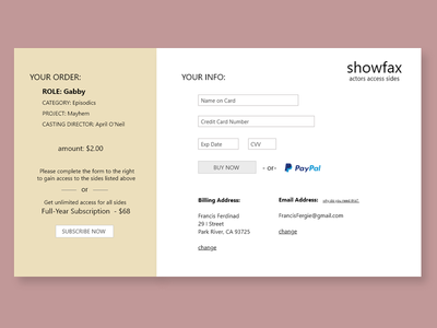 DailyUI #002 -Credit Card Checkout