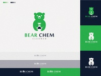 Bear Chem beautiful green logo design bear logo cleaned bears hosppital modern leaf chem alchemy bear design logo vector ui branding