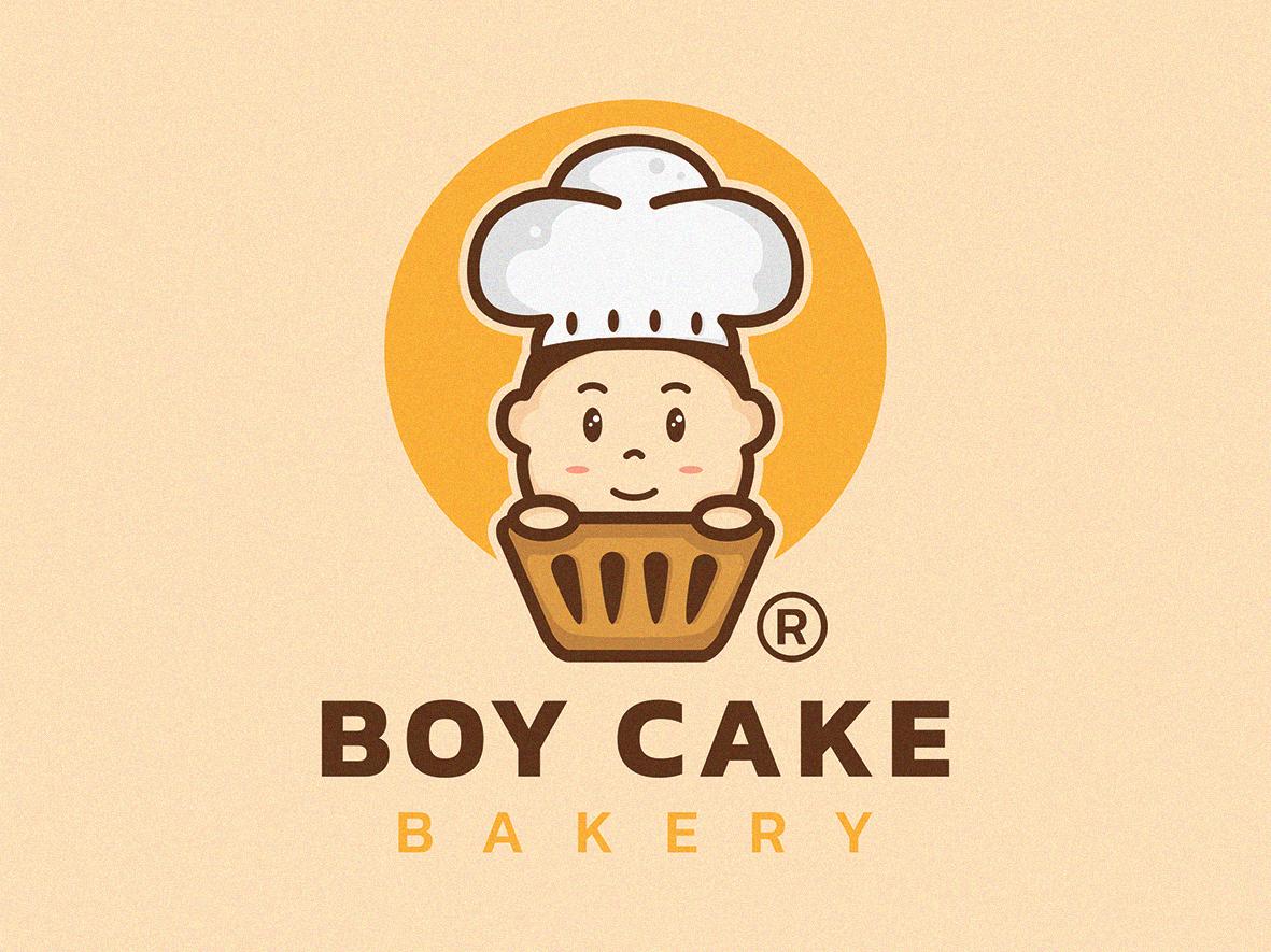 Boy Cake bakery logo design logo mark sale logo illustration icon design character logo cartoon branding agency branding cool logo restaurant logo cake logo chef logo cooking