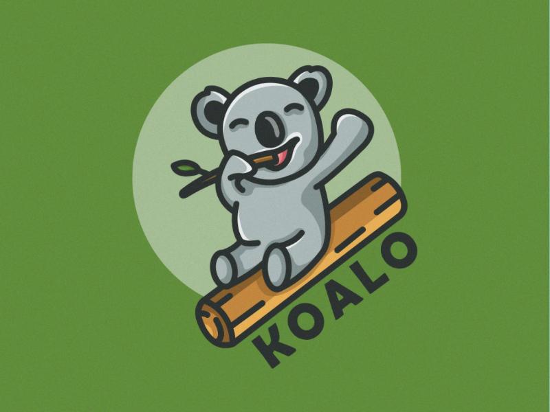 KOALO bakery colorfull good idea modern logodesign cartoon illustration cartoon logo mascot design character character koala wood illustration koala branding funny logs logo koala koala