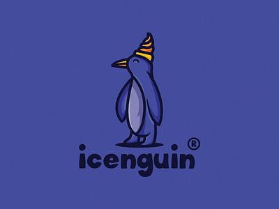 Icenguin 1 restaurant iceream foodlogo illustration cartoon character vector cartoon fun logotoon branding purple animal ice penguin cartoonlogo