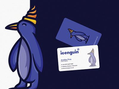 Icenguin 2 restaurant iceream foodlogo illustration busniescard vector purple penguin logotoon ice fun cartoonlogo character cartoon branding animal