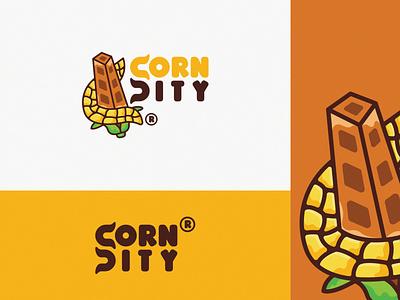 Corn City logo cartoon fullcolor illustration cartoon city corn toons