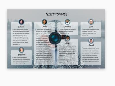 Daily UI 039 - Testimonial typography photographer testimonials testimonial dailyui039 webdesign design daily ui ui daily challange daily 100 challenge daily 100 dailyui