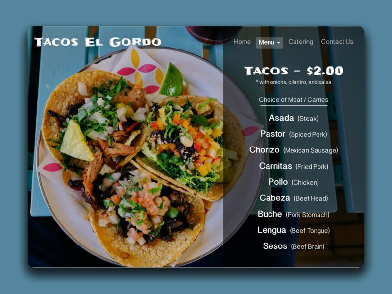 Daily UI 043 - Food/ Drinks Menu website concept menu design daily ui challenge tacos menudesign menu food and drink daily ui 043 design daily ui ui daily challange daily 100 challenge daily 100 dailyui