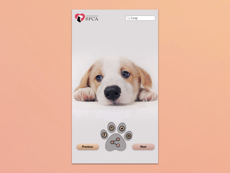 Daily UI  #010 -  Social Share adoption puppies dogs corgis corgi social share daily ui 010 design dailyui ui daily challange daily 100 challenge daily 100