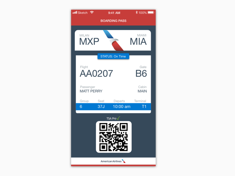 Daily UI 024 :  Boarding Pass daily ui 024 boardingpass flight app american airlines dailyui024 boarding pass design ui daily ui daily challange daily 100 challenge daily 100 dailyui