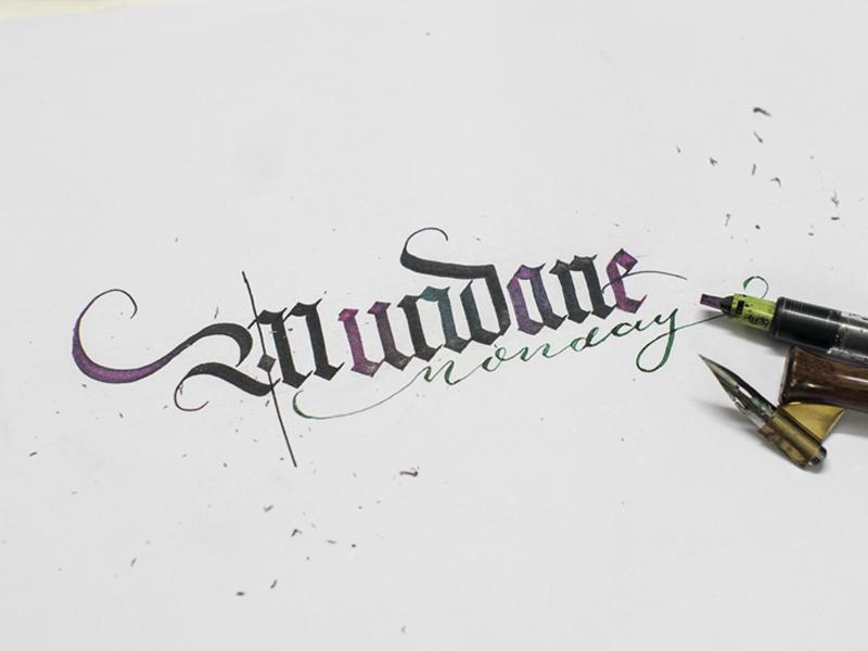 Mundane Monday typography type custom type identity logo handwritten calligraphy handlettering