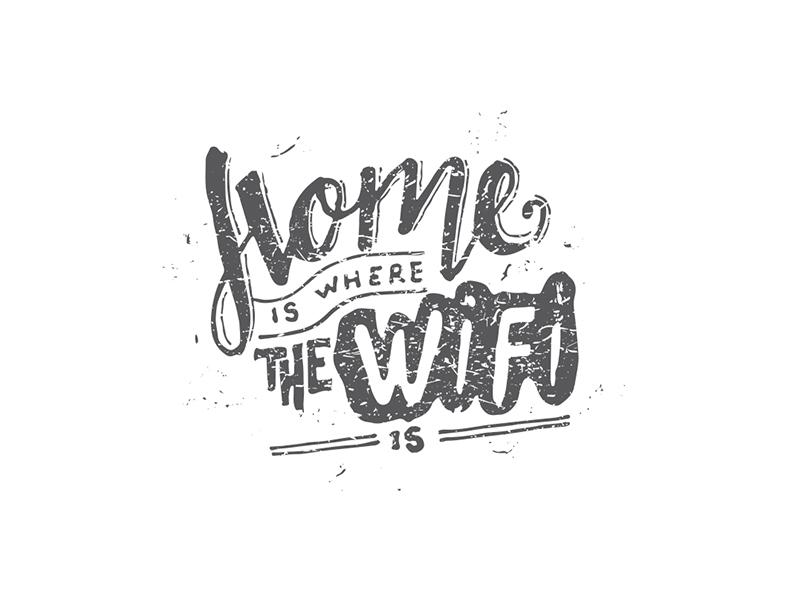 Home is where the wifi is new delhi india typography type custom type identity logo handwritten calligraphy handlettering
