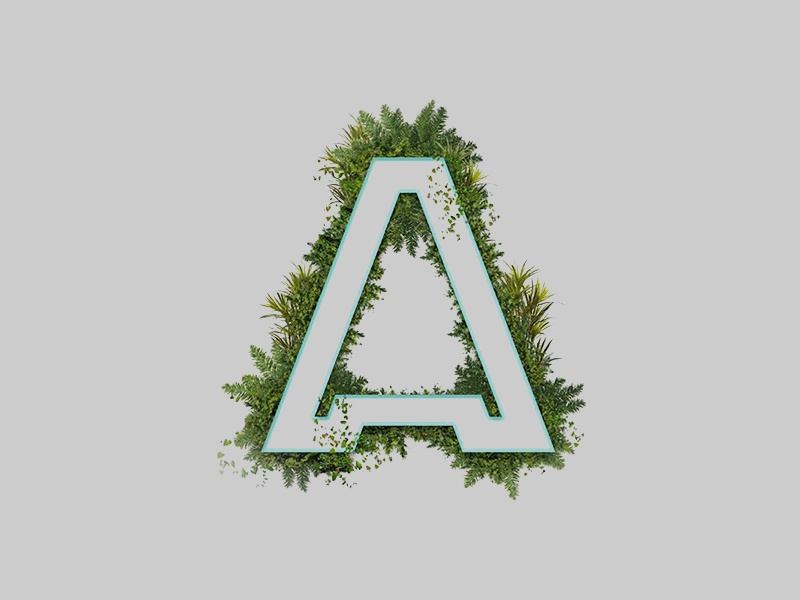 A ideas letters alphabet lime green plants letter a typography