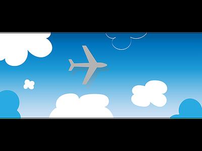 Plane & Clouds blog header adobe illustrator