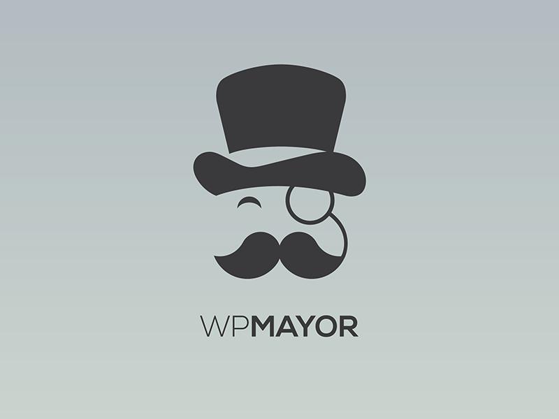 Wp Mayor Rebranding wp logo flat minimal mayor monocle tophat moustache