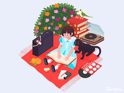 My Childhood child self-portrait illustrator vector art illustration cat memories childhood