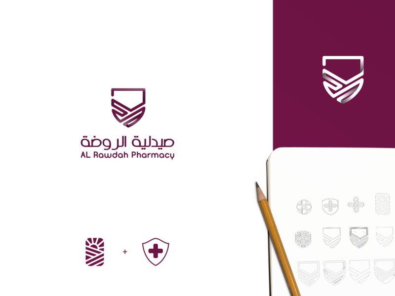 Pharmacy Brand l Al Rawdah Pharmacy type app graphic design vector icon clean brand art website minimal blue animation ux ui logo illustrator illustration identity design branding