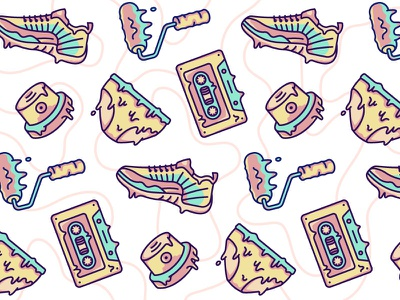 Hello Dribbble first shot cushion cap cassette underpants paint sneakers pattern hello debut